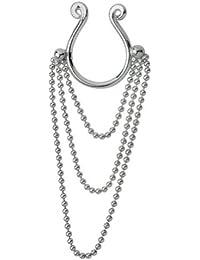 Brustwarzen Clip Schmuck zum klemmen ohne Piercing, Brustschmuck mit 3 Kettchen aus 925 Sterling Silber, Fake Piercing