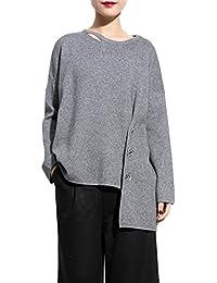 ELLAZHU Design Unique Ourlet Asymétrique Solide Tricot Pullover WO179