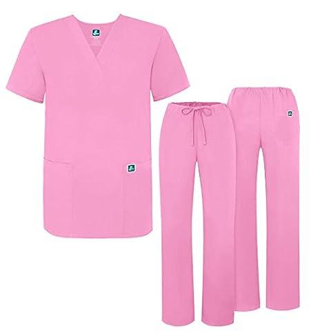 Adar Medical Unisex Drawstring Hospital Nurse Scrub Set (Available in 39 colors) Roomy fit - 701 - Sherbet - S