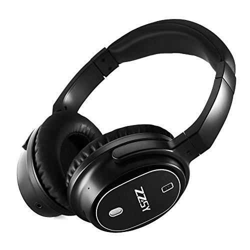 Zzsy cuffie con cancellazione attiva del rumore e microfono in linea, wireless bluetooth 4.1 auricolari a bassi amplificati, cuffie da viaggio con supporto ripiegabile e leggero, con custodia da viaggio