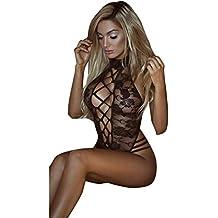 Venta caliente. Las mujeres sujetador, Feixiang & # x2648; La mujer de encaje lencería ropa de dormir ropa interior Tanga Babydoll pijamas body, negro