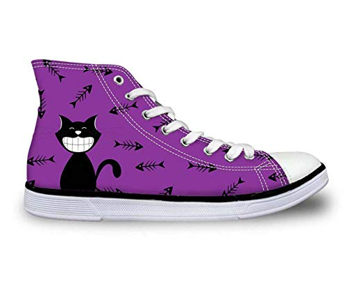 Fashion Womens Hi Top Canvas Shoes Walking Sneakers Trainers Kitten Comfort Purple CC3416AK US 7 \u002F EU 37 Pliner High Heels