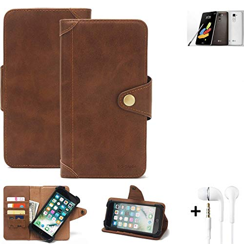 K-S-Trade Handy Hülle für LG Electronics Stylus 2 DAB+ Schutzhülle Walletcase Bookstyle Tasche Handyhülle Schutz Case Handytasche Wallet Flipcase Cover PU Braun inkl. in Ear Headphones (1x)