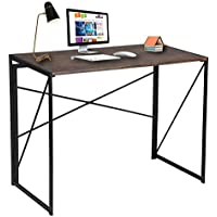 Coavas Folding Computer Table Desk Office Study Desk Simple Desk Foldable PC Table Industrial Style Folding Laptop table Notebook Desk for Home Office Brown