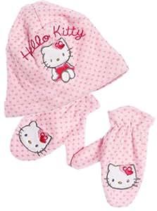 Hello kitty - Bonnet et moufles bébé fille Rose T50 (18mois à 3ans)