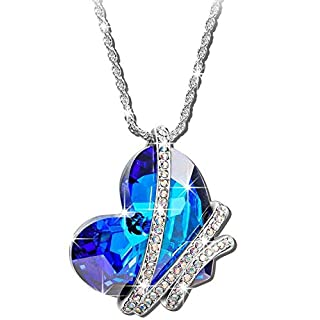 Indian Handicrafts Export Sansar India Blue Crystal AB Valentine Heart Pendant Romantic Love Necklace for Girls and Women
