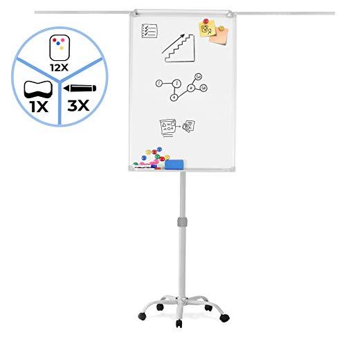 Flipchart mit 5 Transportrollen - 60 x 90, höhenverstellbar, 2 Seitenarme, inkl. Marker, Magnete, Schwamm, Papierhalterung, Weiß - Whiteboard, Magnettafel
