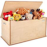 """Little Helper 90 X 46 X 43.5 Cm Large """"Toytidy"""" Toy Storage Box with Slow-drop, No-slam Lid Safety Device (Maple)"""