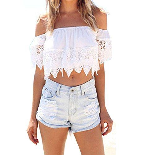 Culater® Moda Donna Boho Pizzo Bianco Camicetta Off Camicia Top Aderente Spalla (M)