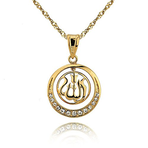Damen Kette Gold Allah Muslim Islam Koran Halskette Anhänger 24 Karat Schmuck Geschenk