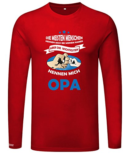 Die wichtigsten nennen mich Opa - Herren Langarmshirt Rot