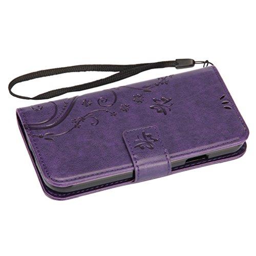 A9H Leder Tasche Case Cover für iPhone 5G 5S SE Hülle PU Schutz Etui Schale Gray Muster Design Backcover Flip Cover Wallet Hardcase im Bookstyle mit Standfunktion Karteneinschub und Magnetverschluß Et Lia