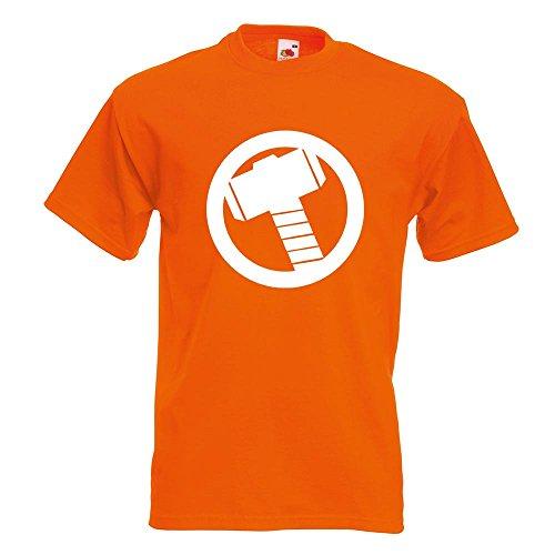 KIWISTAR - Mjölnir - Thors Hammer T-Shirt in 15 verschiedenen Farben - Herren Funshirt bedruckt Design Sprüche Spruch Motive Oberteil Baumwolle Print Größe S M L XL XXL Orange