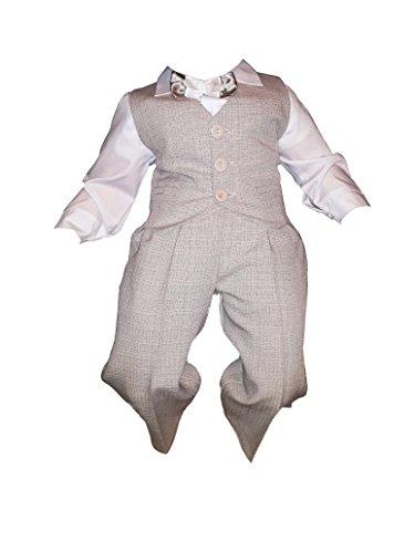 Taufanzug, Festanzug, Jungenanzug, 5tlg,Beige-Weiß,Baby Junge Kinder Taufe Hochzeit Anzüge K10B Größe 68