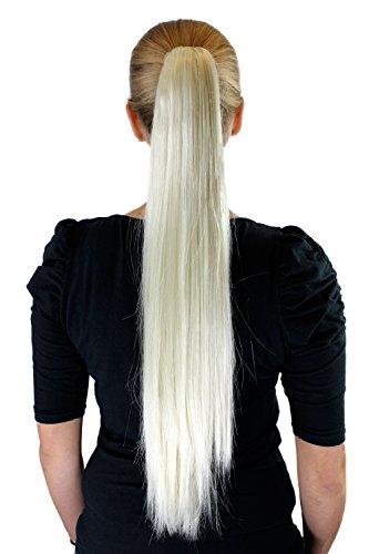 Extension, Haarteil, Platinblond, Zopf, Haarverlängerung, Butterfly-Klammer, glatt, lang, ca. 65 cm, XF-6464-613