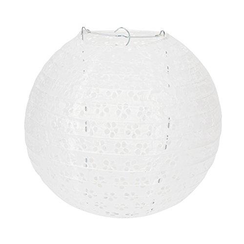 Dazone Lampion, chinesisch, ziseliert, Lampenschirm aus Papier, Kugel-Laterne, zur Dekoration, für Hochzeit, Haus, Weihnachten, Party, mit LED (Set mit 10Stück), weiß, 10 Pouces(25cm) Veranda Boden Malen