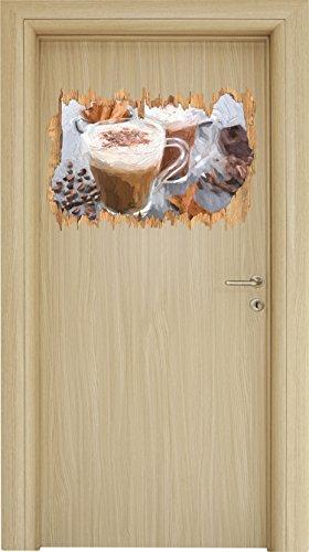 Primavera Kaffee (heiße Schokolade und frischer Kaffee mit Streuseln Holzdurchbruch im 3D-Look , Wand- oder Türaufkleber Format: 62x42cm, Wandsticker, Wandtattoo, Wanddekoration)
