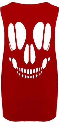Damen Baggy Skull Open Back Ausschnitt Damen T-Shirt ärmellos Weste Übergröße Top Oversized Tee Rot - Rot