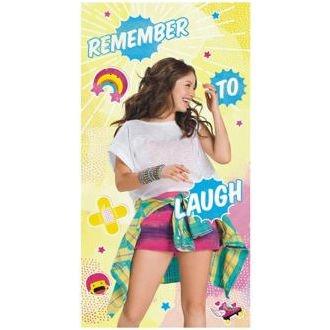 Serviette de bain Drap de plage Disney Soy Luna Remember to laugh rire en microfibre 70 X 140 cm