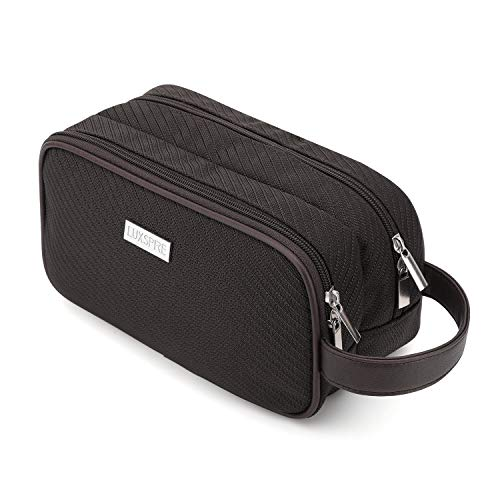 Luxspire Travel Toiletry Bag, Double Lattice Nylon Waterproof Travel Makeup Cosmetic Storage Bag Portable Travel Kit Organizer for Shampoo, Cosmetic, Personal Items - Coffee