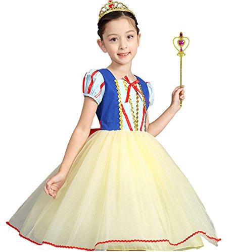(Nohler Life Sommer-Mädchen Prinzessin Snow White Kostüm Verkleiden Sich Ballkleid Kurzes Kleid Party mit Zubehör)
