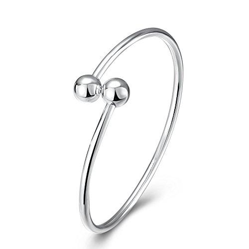Hanie Damen Armreif 925 Sterling Silber Glückskugel Beads Glänzend Armspange Verstellbar Offen Allergenfrei Armband Durchmesser 5,7 cm für Frauen Mädchen Perfekt als Geburtstagsgeschenk