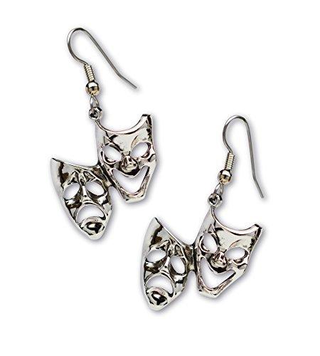 asken Silber Finish Zinn Baumeln Ohrringe (Silber-masken)