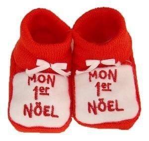 Noël bébé - Chaussons bébé brodés \\