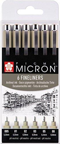 Zoom IMG-1 pigma micron fineliner 6 pezzi