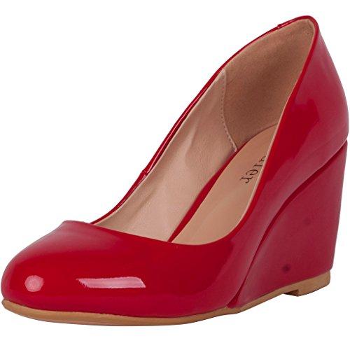 Calaier Ladies Cashower Moda Tacchi A Spillo Slip On Classic Pumps Punta Chiusa Oversize 8cm Tacco A Zeppa Slip Pumps Rosso