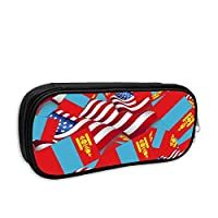 Mongolia Flag with America Flag Pencil Case Pouch Bag Multifunction Cosmetic Makeup Bag School Office Storage Organizer