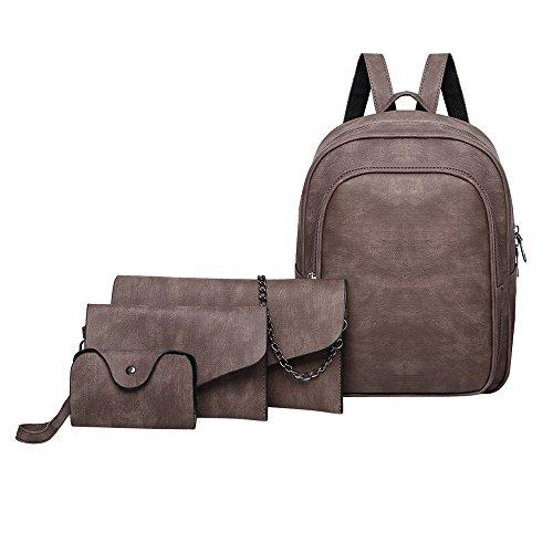 Rucksack FOANA Damen Handtaschen Schultertasche Geldbörse Kartenhalter Tasche Set 4pc
