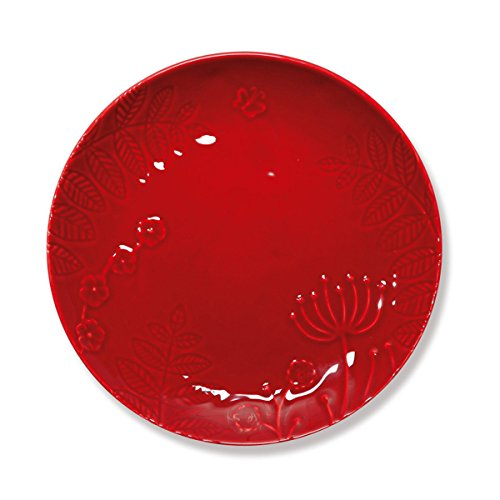 Bruno Evrard Assiette Dessert Rouge en faïence 23cm - Lot de 6 - POEME