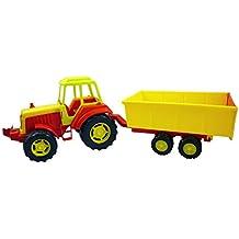 76cm grande del rojo, amarillo y verde de plástico de juguete tractor con excavadora y Digger [Toy]