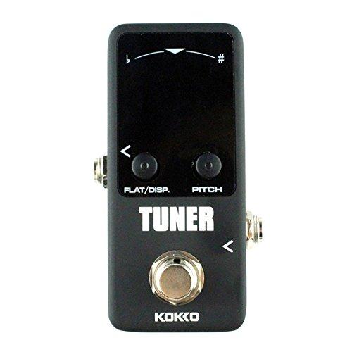 Kokko ftn2guitarra Mini Monoblock Tuner Pedal de Efectos alta sensibilidad pantalla doble modo de anuncios negro