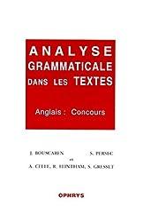 Analyse grammaticale dans les textes. Anglais : concours