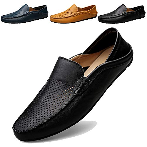 KAMIXIN Mocassins Homme Été Loafers Cuir Mode Respirant Chaussures de Conduite Plat Flâneurs Chaussures Décontractées Slip on Grande Taille Noir 44EU