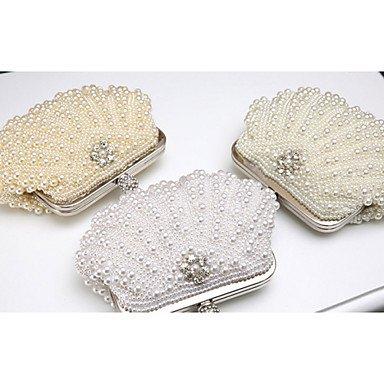 Frauen elegante Noble Pearl RhinestoneEvening Tasche White