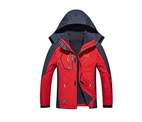 Vêtements de sport étanches pour hommes Chaussures de sport en plein air à capuchon Camping Randonnée Mountaineer Vestes de voyage Imperméable Veste imperméable ( Color : Red , Size : 8XL )