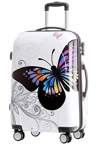 Set di valigie da viaggio 2060, set di trolley rigidi, disponibile in 12 modelli, set di 3 o 4 pezzi, dimensione unica XL/L/M/S Butterfly L