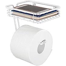 mDesign Portarrollos de papel higiénico con bandeja – Práctico portarrollos de baño de metal con estante