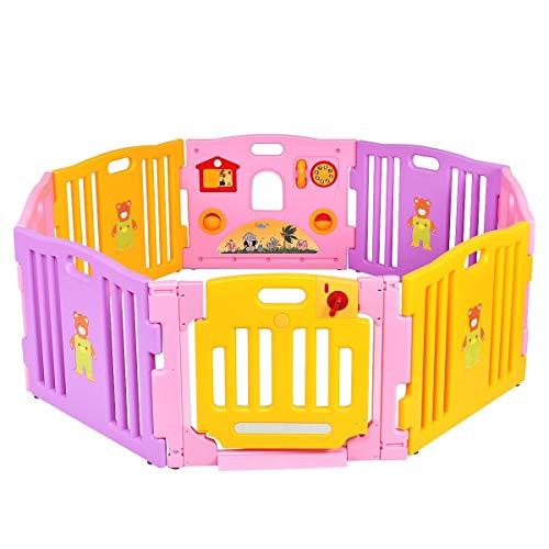 Baby Leitplanke Baby-Laufstall mit 8 farbenfrohen Feldern, verbesserte Sicherheitsverriegelung, austauschbar in Achteck, Rechteck, Quadrat, Dreieck als Aktivitätscenter für Kleinkinder ( Color : A )