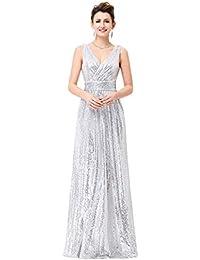 HUAN Vestido de Fiesta de Lentejuelas con Cuello en V para Mujer/Fiesta/ Vestido de Noche Formal/Vestido de Fiesta de Oro de Lujo (Color : Plata,…