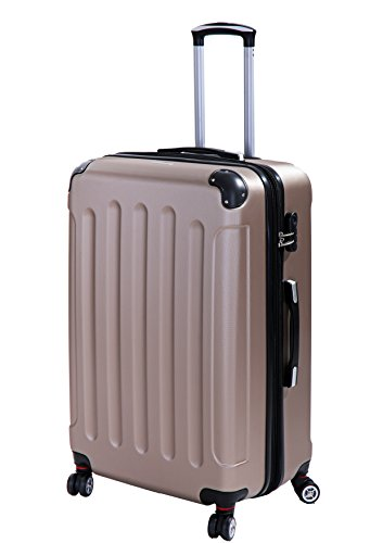 P-Collection Koffer Trolley Handgepäck Reisekoffer Hartschalenkoffer Zwillingsrollen M-L-XL-Set Dehnungsfuge 5 Farben (Champagner Größe XL)