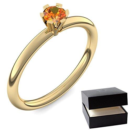 Goldring Feueropal 585 + inkl. Luxusetui + Feueropal Ring Gold Feueropalring Gold (Gelbgold 585) - Celebrity Amoonic Schmuck Größe 59 (18.8) UW01 GG585FOFA59