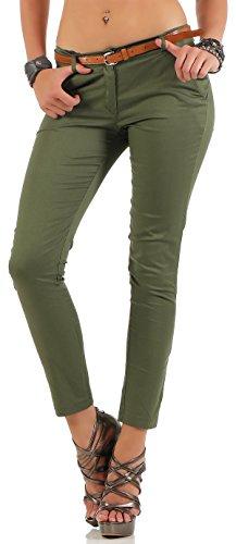 Malito Damen Chinohose mit Gürtel | Stretch Caprihose | schicke Freizeithose | Skinny - Slimfit - elegant 5388 (Oliv, L) (Zumba Hose Grün)