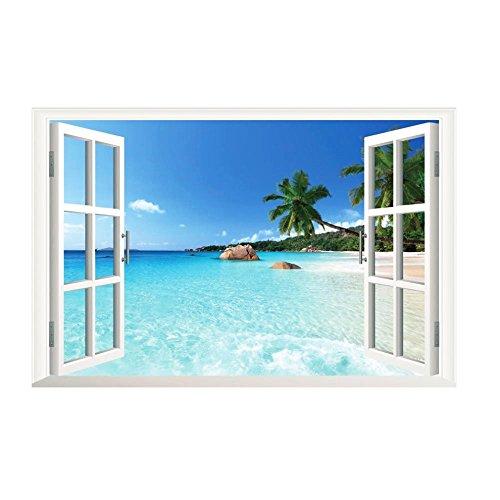 TrifyCore Pegatinas de pared extraíble 3D Vista al mar Paisaje vinilo Programa de papel tapiz 3d Calcomanías para ventana Póster Decoración de la pared Art Mural Pegatina de pared Pared 60cm X 90cm X 1