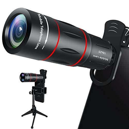 Handy Objektiv, 18X Zoom Teleobjektiv mit Stativ, HD Kamera Objektiv für iPhone, Samsung, Android Smartphone, Monokular Teleskop