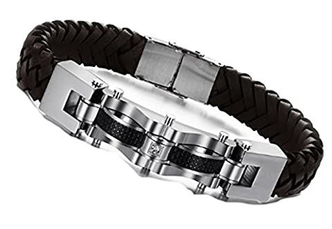 SaySure- Stainless Steel Brown Genuine Leather Bracelet Men Bicycle