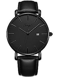 SONGDU Herren Ultra Dünne Elegant Analoge Quarz Armbanduhr Datum Quarzuhr und Klassisch Schwarz Leder (Grau)